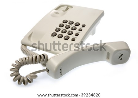 Business phone close up on white background