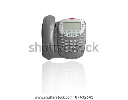 Business phone on white background with reflection