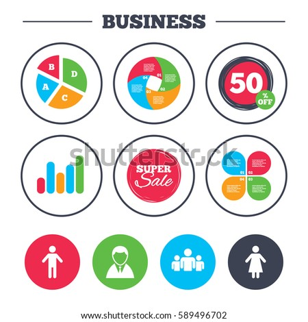Business pie chart. Growth graph. Businessman person icon. Group of people symbol. Man and Woman signs. Super sale and discount buttons.