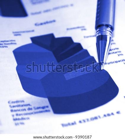 Business pie chart report - stock photo