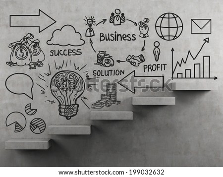 Business plan and stairs  - stock photo
