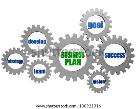 business plan - business concept words in 3d silver grey gearwheels - stock photo