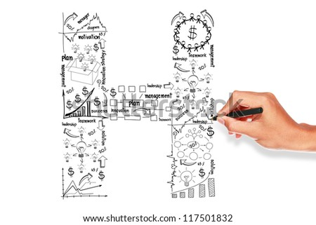 Business plan concept ideas, hand drawn alphabet H on whiteboard - stock photo