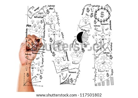 Business plan concept ideas, hand drawn alphabet M on whiteboard - stock photo