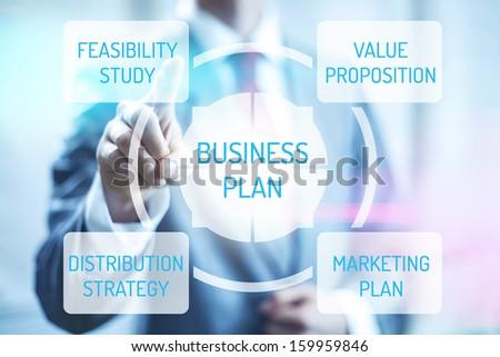 Business plan concept man touching virtual screen selecting plan - stock photo