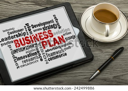 business plan concept with business words - stock photo