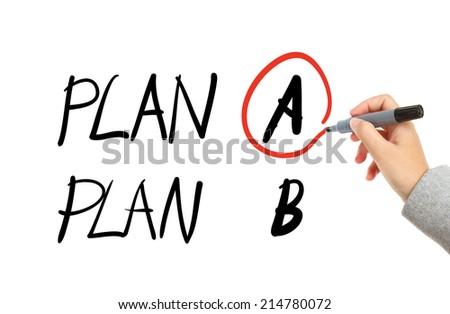 Business plan drawing - stock photo