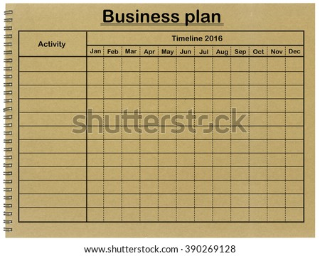 Business Plan Grid Timetable On Notebook Stock Photo