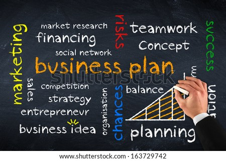business plan on chalk board - stock photo