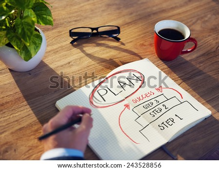 Business Plan Success Strategy Planning Working Concept - stock photo