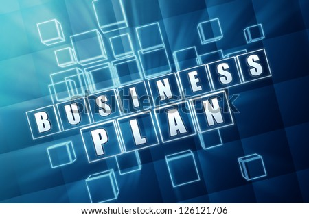 business plan text in 3d blue glass cubes with white letters