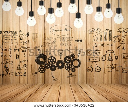 business plan with chart illustration - stock photo