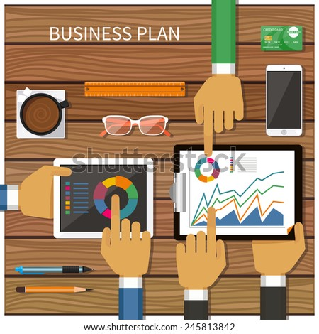 Business plan with creative businessman showing positive growth in flat design style - stock photo