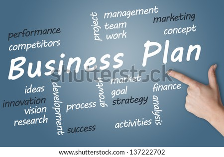 Business Plan wordcloud concept on blue background