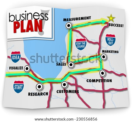 Business Plan words on a road map directing you to success for a startup company, with directions leading you to visualize, research, customers, competition, marketing, sales and measurement - stock photo