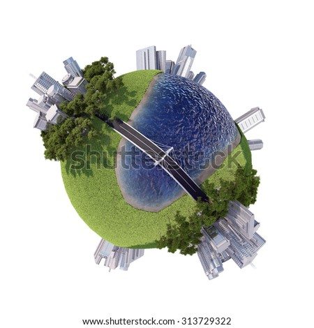 Business planet with sea on isolated white background