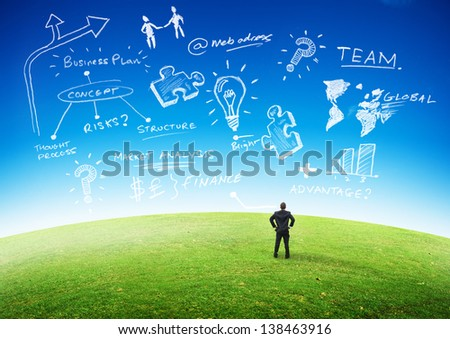Business Planning Concept, Businessman looking at plans in the sky. - stock photo