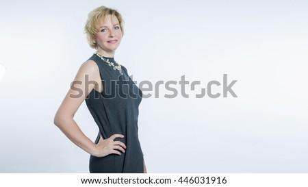 Business portrait . woman on a light background - stock photo