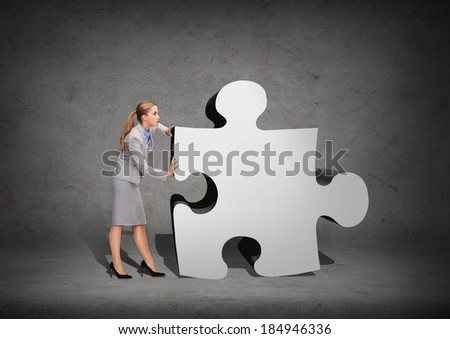 business, post and transportation concept - busy businesswoman pushing puzzle piece - stock photo