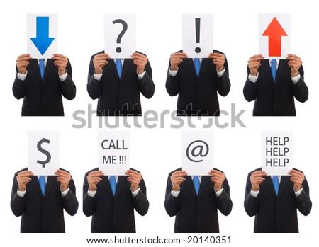 business presentation concept with lots of different messages - stock photo