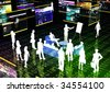 Business presentation inside the virtual internet world - stock photo