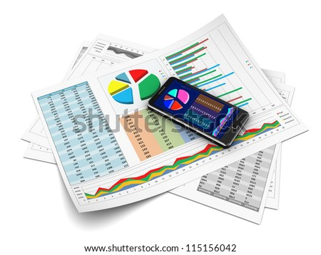 Business presentation with graph on cellphone, new technology - stock photo