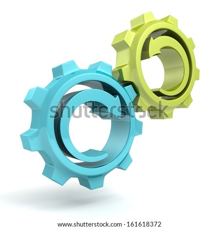 Business process concept blue green gears with arrows
