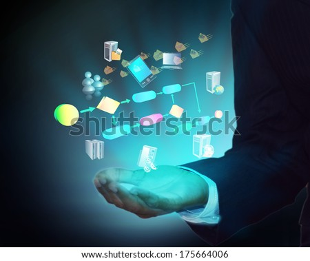 Business process in Business man hand - stock photo