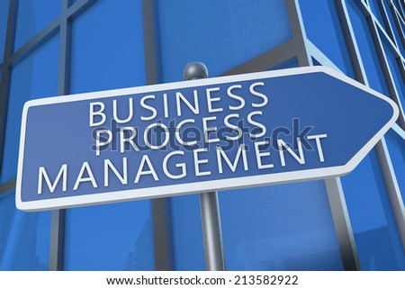 Business Process Management - illustration with street sign in front of office building. - stock photo