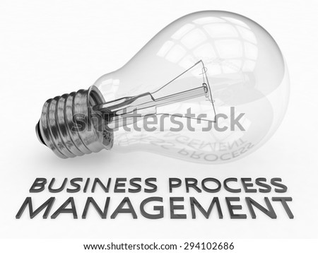 Business Process Management - lightbulb on white background with text under it. 3d render illustration. - stock photo