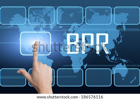 Business Process Reengineering concept with interface and world map on blue background
