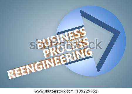 Business Process Reengineering - text 3d render illustration concept with a arrow in a circle on blue-grey background