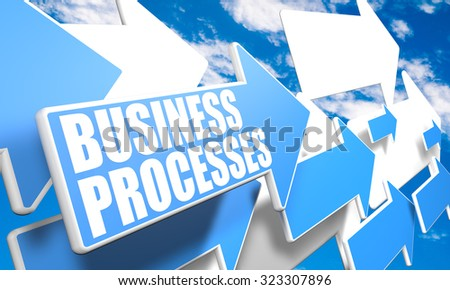 Business Processes - 3d render concept with blue and white arrows flying in a blue sky with clouds - stock photo