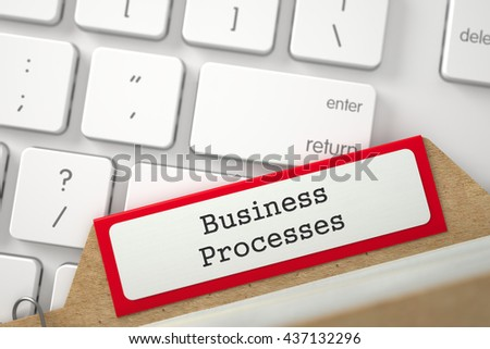 Business Processes. Red Index Card Concept on Background of Modern Metallic Keyboard. Business Concept. Closeup View. Blurred Illustration. 3D Rendering. - stock photo
