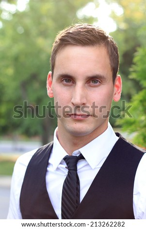Business Professional Man Looking at the Camera Serious Wearing a Suit - stock photo