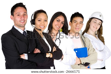 business professionals in different career paths over a white background