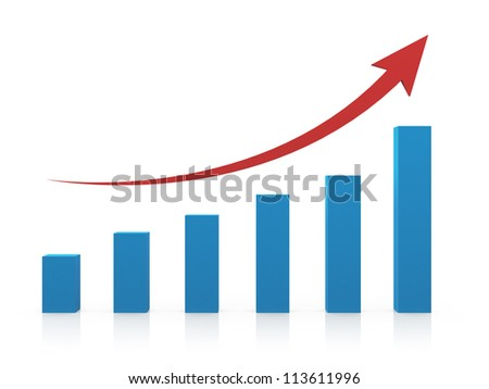 Business profit growth graph chart with reflection, isolated on white background. - stock photo