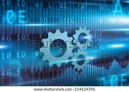 Business progress cogwheel concept blue background blue cogwheel