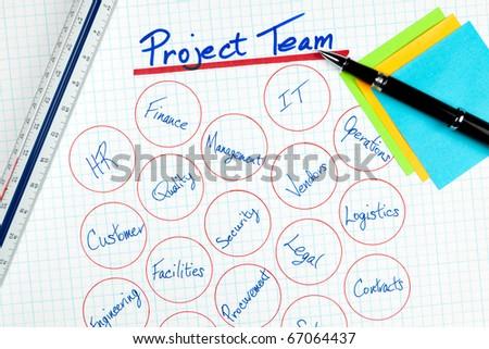 Business Project Management Team Diagram - stock photo