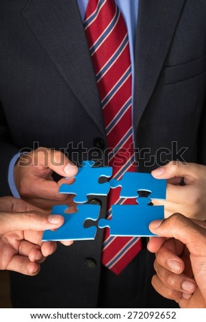 Business, Puzzle, Teamwork. - stock photo
