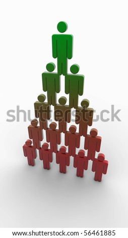 business pyramid with green color at top and red in bottom. Red symbolises hardness and green symbolises SUCCES - stock photo