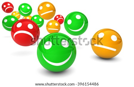 Business quality service customer feedback, rating and survey with emoticon symbol and icon 3D illustration on white background.