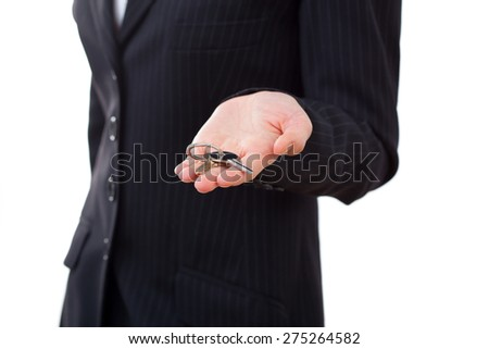 business, real estate and banking concept - smiling businesswoman with house keys close-up - stock photo