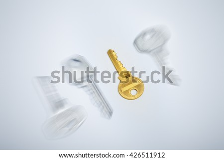 Business, real estate concept image. Focusing on golden key to success  - stock photo
