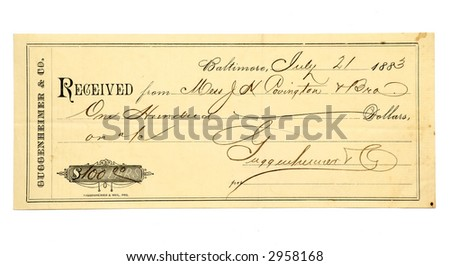 Business receipt dated 1883. - stock photo