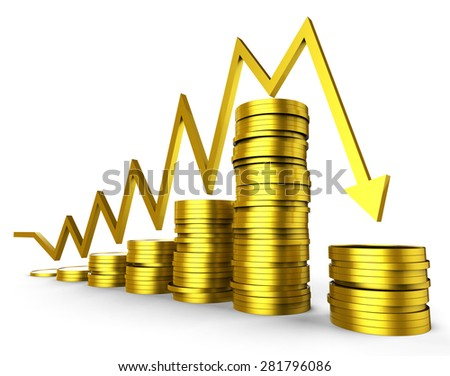 Business Recession Indicating Commercial Graphic And Investment - stock photo
