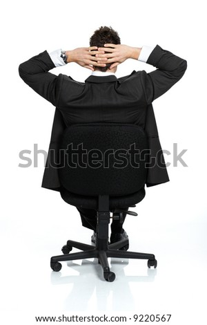 Business relaxation of the businessman. Isolated over white background - stock photo