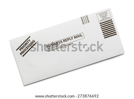 Business Reply Mail Envelope Isolated on White Background. - stock photo