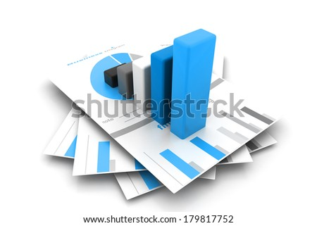 Business report and graph - stock photo