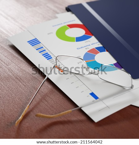 Business report in plastic folder and eyeglasses over it, some figures are visible. Shallow DoF. - stock photo
